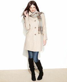 London Fog Coat, Wool-Blend Walker with Plaid Scarf - Coat Specials - Women - Macy's