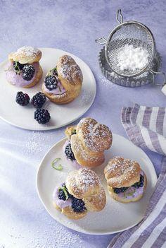 Blackberry Lime Cream Puffs  - CountryLiving.com