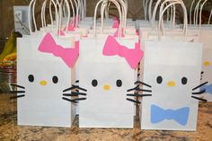 Hello Kitty birthday party favor bags- girl and boy and like OMG! get some yourself some pawtastic adorable cat shirts, cat socks, and other cat apparel by tapping the pin! 6th Birthday Parties, Birthday Crafts, Birthday Party Favors, Birthday Ideas, Diy Hello Kitty Birthday Party Ideas, Hello Kitty Theme Party, Themed Parties, Birthday Presents, Birthday Decorations