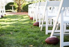 Football ceremony aisle | Look Wedding Photography | Blog.theknot.com