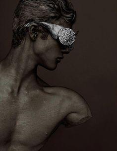 NATASHA MORGAN baroque eyewear. SPACE MAGAZINE - The Ambiguity issue  Photographer: Cosimo Buccolieri @cosimobuccolieri.com  Creative Director: Stefano Manclossi  Hair  Make-up Artist: Luca Cianciolo @closeupmilano.it  Models: Mirza Hadziomerovic @Beatrice Models.com - Emanuele A. morrowmodel.it  Sunglasses: Natasha Morgan @natashamorgannyc.com