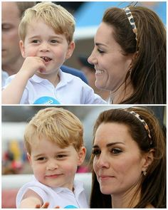 The Duchess of Cambridge along with her son Prince George at the Royal international air tattoo in Gloucestershire.