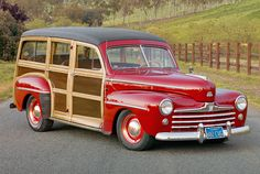 """History: Many manufacturers—Chrysler, Buick—created wooden-body wagons, but only Ford's (sold from 1929 to '48) gets name-checked in Jan and Dean's """"Surf City."""" Pros: Quality control was unparalleled, as Ford oversaw every step of the wood's production, from growing to milling. Cons: Yearly stripping and refinishing is recommended to prevent weathering. Value: $52,000"""