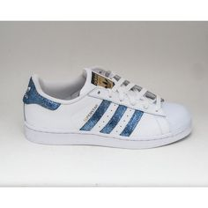 Glitter Limited Edition Starlight Blue Adidas Superstars Ii Fashion... ($200) ❤ liked on Polyvore featuring shoes, sneakers, light blue, sneakers & athletic shoes, tie sneakers, women's shoes, blue glitter shoes, blue shoes, polish shoes and silver glitter shoes