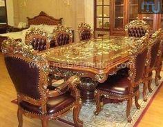 Meja Makan Ukir Mewah - Furniture Jepara - Furniture Jepara Dinning Table Design, Dining Room Table, Luxury Interior Design, Modern Luxury, Cool Furniture, Modern Design, Indoor, House, Chairs