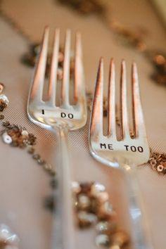 """""""I Do, Me Too"""" vintage forks. Vineyard Vintage Wedding by Jeannine Marie Photography – KnotsVilla"""