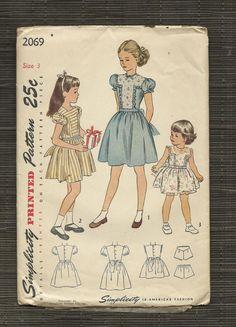 Vintage Pattern 1940s Girls Back Button Dress T by sydcam123