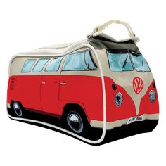 Toiletry bag styled as a red retro mini version of the iconic 60s Volkswagen Camper Van.