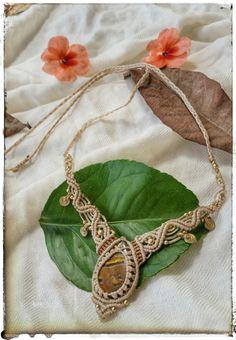 tiger eye necklace white macrame necklace boho by NarkisMacrame