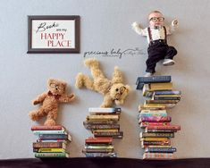 Adorable 3 month old baby boy dancing with bears on books with sign. Books are my happy place. Baby and bears have nerd glasses and bow ties. Precious Baby ImaginArt by Angela Forker creative photography unique amazing cute funny Fort Wayne New Haven Indiana