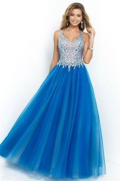 Blue Prom Dresses 2015 On Sale Halter Beaded Crstals V-neck A-line Tulle Long Evening Gowns Custom Made Special Occasion Party Dress Girls