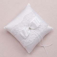 Beverly Clark French Lace Collection Ring Pillow White or Ivory Wedding Ring Cushion, Wedding Pillows, Cushion Ring, Ring Bearer Pillows, Ring Pillows, Lace Ring, Classic Gold, French Lace, How To Make Bows