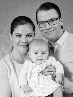 Crown Princess Victoria of Sweden, Princess Estelle and Prince Daniel  I black and white photography