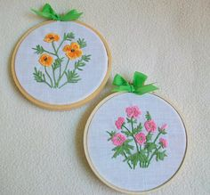 Hoop Wall Art Vintage Embroidery Set of Two Flower by sammysgrammy, $22.00