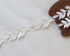 1yd Trim  Blätter Applique Spitze in weiß schwarz von MakingPlus