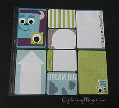 Disney Pixar Cards Envelopes and Stickers and Project Life Honey Edition; Monsters Inc. or University scrapbook page layout idea.