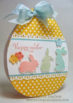 "Happy Easter ~ handmade card using patterned papers & ""Ears to You"" set from Stampin' Up ~ this is a cute card but would also make a fun piece for Easter decor replicated on wood 