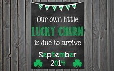 Printable Pregnancy St Patricks Day Pregnancy Announcement // Pregnancy Reveal // Photo Prop
