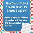 "This is a ""people"" hunt handout for the first day of school. Each student gets a handout and they must fill in all the boxes with a name of one of the students in class."