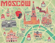I love these illustrated maps here is another map of Moscow by the talented illustrator Ashley Ross. #moscowrussia