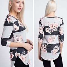 Floral Stripe Top   A french terry stripe floral print 3/4 sleeves top T7903 - $34.50