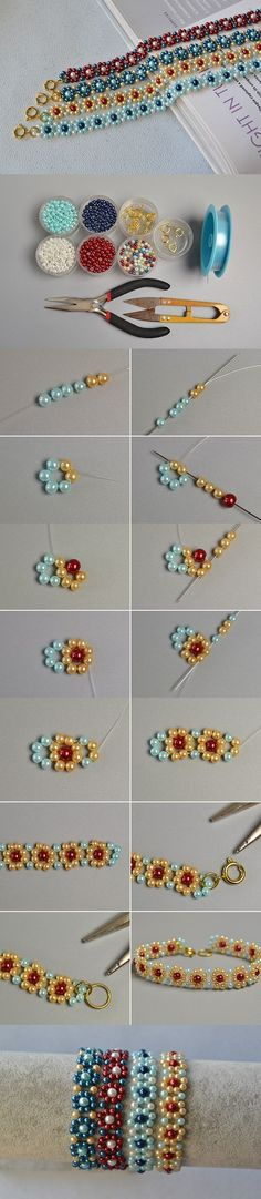 Making Fresh Colored Pearl Beaded Flower Bracelets ~ Seed Bead Tutorials - WOW!! - SO COOL & LOOKS INCREDIBLY SIMPLE!!