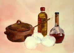 TALLER de ACUARELA de HILARIO: Sopas con cebollas. Bodegón. 139
