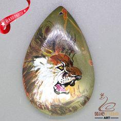 Art Deco Hand Painted Made Necklace lion Natural Gemstone pendant ZL806200 #ZL #Pendant
