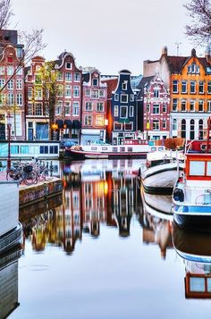 Colorful homes along a canal in the Netherlands.