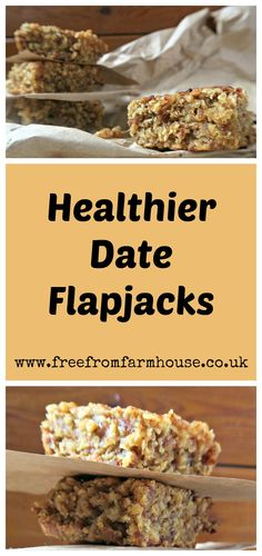 These healthy date flapjacks are dairy free, sticky and delicious. They are low in sugar and perfect for an afternoon treat or lunchbox. Healthy Flapjack, Flapjack Recipe, Dairy Free Recipes, Gourmet Recipes, Baking Recipes, Lunch Box Recipes, Snack Recipes, Vegan Snacks, Vegan Desserts