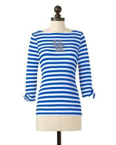 Kentucky Wildcats | Striped Boat Neck Top | meesh & mia