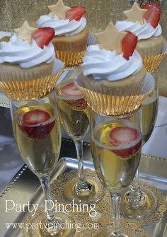 Fun cupcake topped drinks at a New Year's Eve party! See more party ideas at CatchMyParty.com! #partyideas #newyears