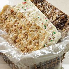 3 Recipes: Peppermint-White Chocolate Candy Slabs, Peanut Brittle Candy Slabs, and Hello Dolly Candy Slabs.