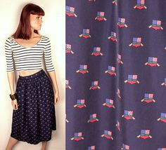 nautical print midi skirt // high waisted // silk by BexVintage, $26.00
