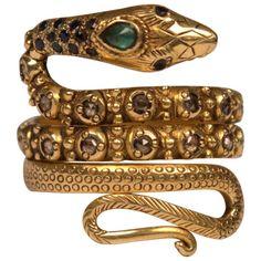 Gold, Diamond, Sapphire and Emerald Snake Ring | 1stdibs.com
