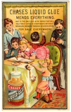 """Antique Trade Card - Chase's Liquid Glue """"Mends Everything"""", Joshua S.. Chase, Boston"""