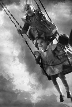 vintage black and white photograph of kids on tire swing - Google Search