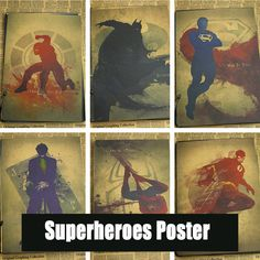Superheroes Poster decorative painting ink Catwoman / Wonder Woman / Spider-Man / Flash / Superman♦️ SMS - F A S H I O N 💢👉🏿 http://www.sms.hr/products/superheroes-poster-decorative-painting-ink-catwoman-wonder-woman-spider-man-flash-superman/ US $1.61
