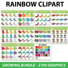 Take a look at this HUGE deal! Rainbow Clipart Set - so far 1620 graphics (total 2700 graphics).Create adorable resources for your studentswith this fun and cute set.  If you are a TPT seller you are more than welcome to use this set to create your own resources for commercial use, as long as you provide a link to my store on your credits page.  ***GROWING BUNDLE - This means you get 60 Sets NOW and 40 MORE TO COME.