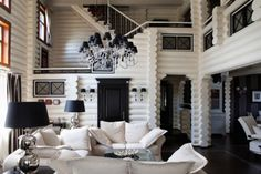 Unique Black and White Living Room if we ever live in mikes dream home- a log cabin :)