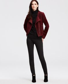 "luscious --> Impeccably tailored, a luxe suede moto revs up your wardrobe. Asymmetrical zip front. Long sleeves. Side zip pockets. Lined. 20"" long."