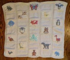 Pattern: Animal Parade Baby Blanket – Knit a Bit Crochet Away Knitted Baby Blankets, Baby Blanket Crochet, Crochet Baby, Knitted Afghans, Free Crochet, Knit Crochet, Animal Knitting Patterns, Stuffed Animal Patterns, Applique Patterns