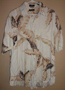 $24.95 Men's Nautica 100% Silk Hawaiian Palm Leaves Button Front Shirt Size: XL