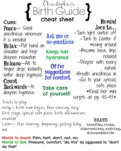 I made a cheat sheet for my husband to use during labor ...