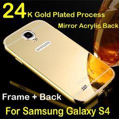 Luxury for samsung s4 case aluminum metal frame mirror acrylic back cover for galaxy s 4 i 9500 brand mobile phone cases 2015