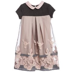 Monnalisa Dusky Pink & Grey Embroidered Organza Dress at Childrensalon.com
