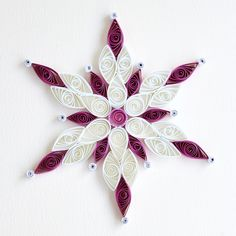 https://flic.kr/p/Crszd3 | 6 point white and purple quilled snowflake with silver glitter