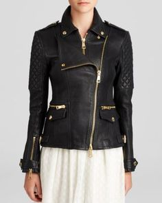 If I could have ONE DREAM ITEM, it would be this. Burberry Brit Remington Leather Moto Jacket | Bloomingdale's