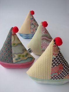 Vintage looking sailboat pincushions-