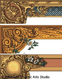 Auguste Racinet - L'Ornement Polychrome Vol. 4 - Century Ornament Collection hand drawn in EPS vector format Pattern Art, Pattern Design, Wood Carving Art, Borders And Frames, Border Design, Illuminated Manuscript, Baroque, Art Nouveau, Digital Prints